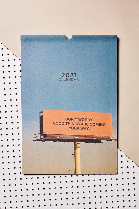 2021 A3 Art Series Calendar, PASTEL BILLBOARD QUOTES