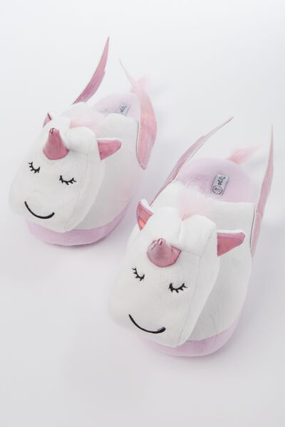 Novelty Slippers, PINK UNICORN