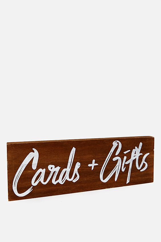 Card + Gift Sign, NATURAL DARK TIMBER