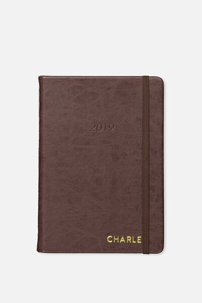 Personalized 2019 A5 Weekly Buffalo Diary, VINTAGE TAN