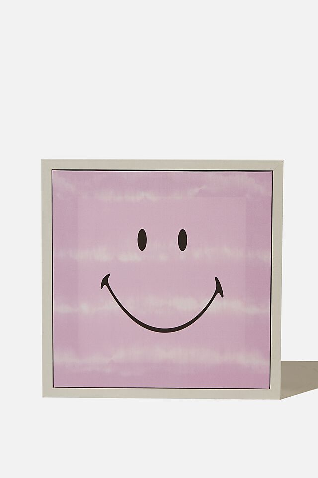 24 X 24 Smiley Mini Canvas Art, LCN SMI SMILEY PURPLE TIE DYE