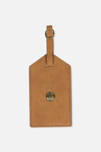 Luggage Tag, MID TAN GLOBE