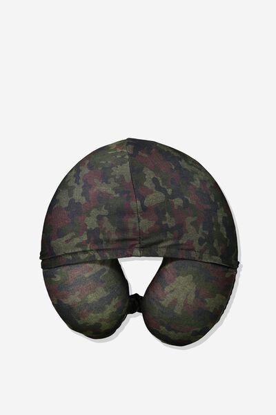 Hooded Travel Neck Pillow, BIG FOOT CAMO