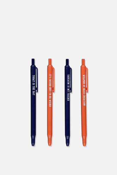 Printed Pen Black 4Pk, NAVY QUOTES