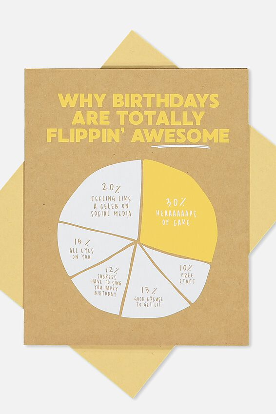 Funny Birthday Card, FLIPPIN AWESOME PIE CHART