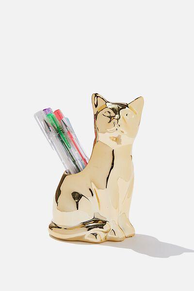 Pen Holder, GOLDEN KITTEN