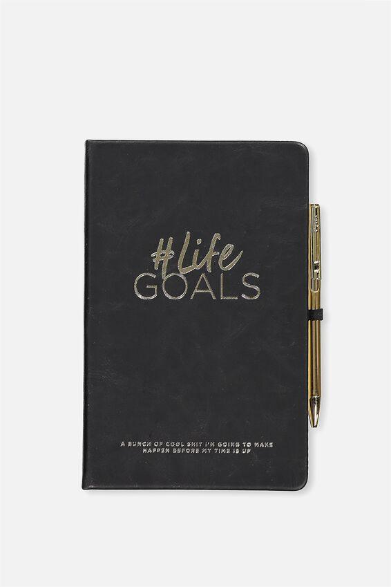 Boxed A5 Premium Activity Journal, BLACK LIFE GOALS