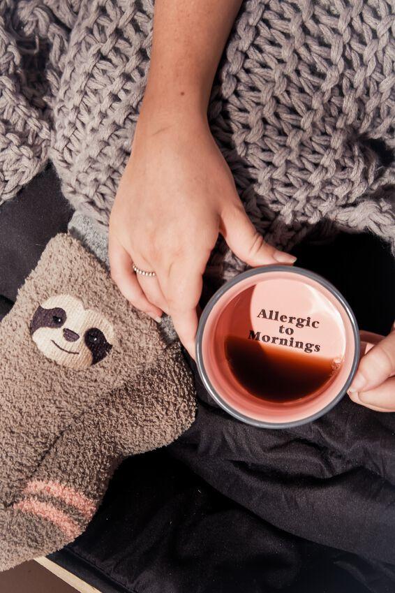 Large Ceramel Mug, PINK ALLERGIC TO MORNINGS