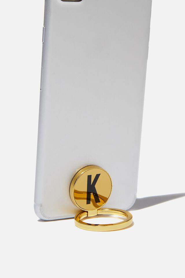 Metal Alpha Phone Ring, GOLD K