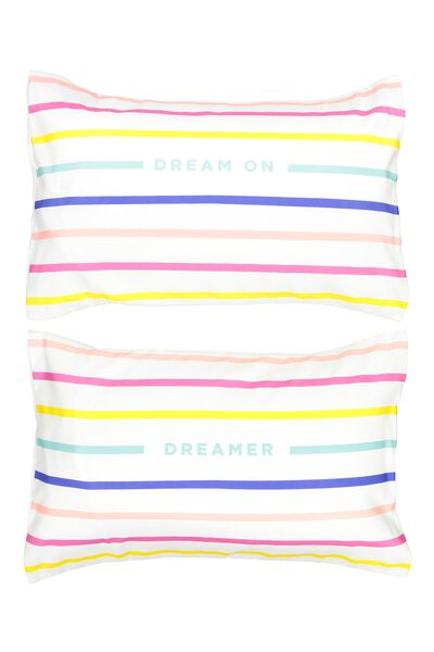 Novelty Pillow Cases Set Of 2, DREAM ON DREAMER