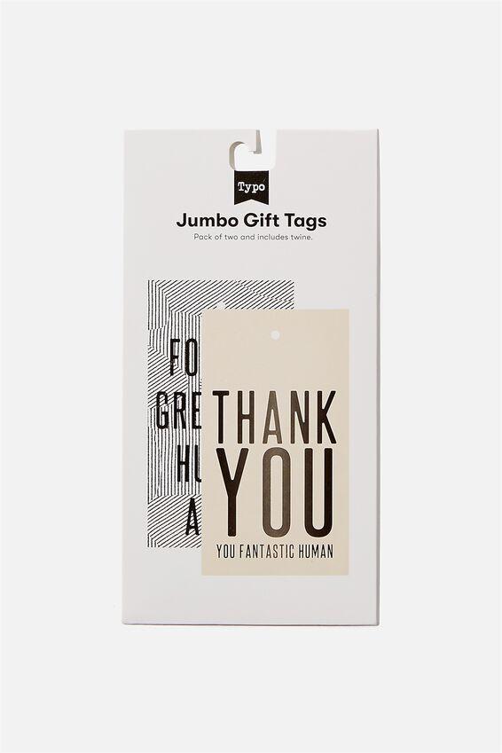 Jumbo Gift Tag Pack, THANKYOU GREATEST HUMAN LINES