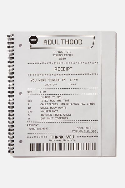 College Ruled Spinout Notebook V, ADULTHOOD