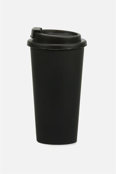 Printed Travel Mug, BLACK RUBBER