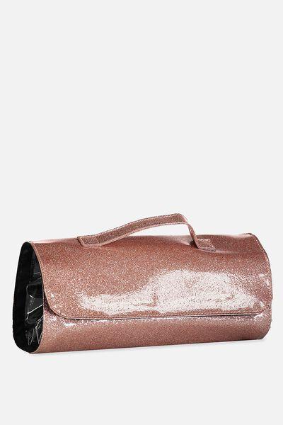 Cancun Cosmetic Case, ROSE GOLD GLITTER
