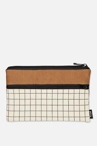 Archer Pencil Case, GRID & TAN
