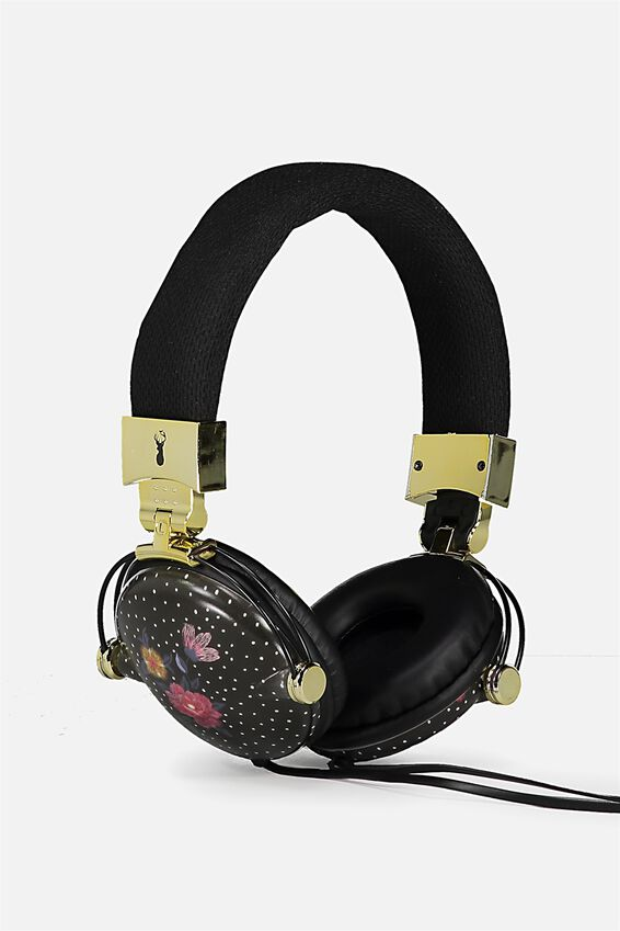 Tune Out Headphones, BLACK DOTTY FLORAL