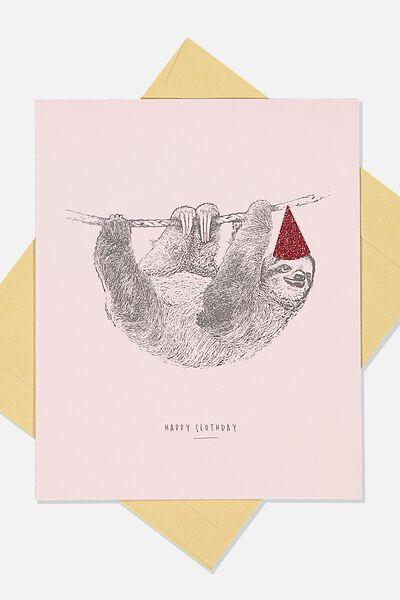 Premium Nice Birthday Card, GLITTER HAT SLOTH