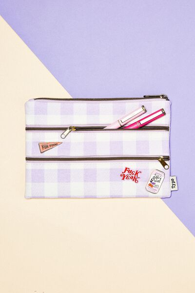 Double Archer Pencil Case, GINGHAM PALE LILAC
