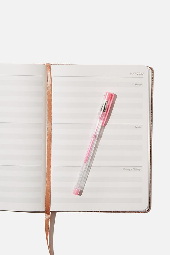 2020 A5 Weekly Buffalo Diary, ROSE GOLD GLITTER