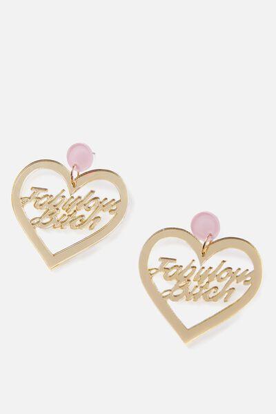 Premium Novelty Earrings, FABULOUS BITCH!