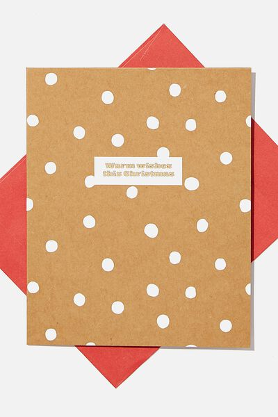 Christmas Card 2020, WARM WISHES KRAFT SPOT