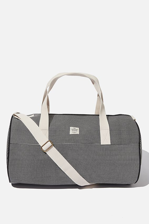 Canvas Barrel Bag, BLACK GRID CHECK