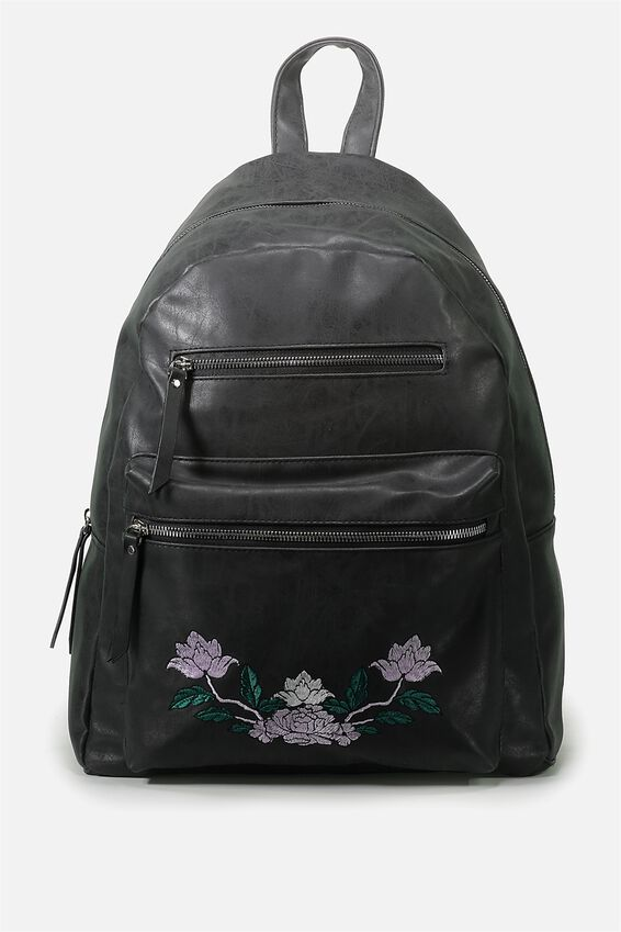 Campus Backpack, BLACK WITH FLORAL PLACEMENT