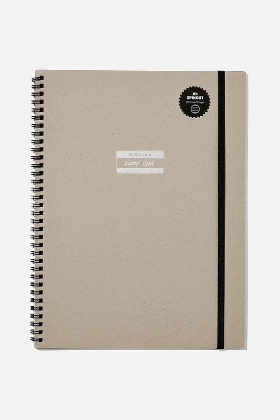 A4 Spinout Notebook Recycled, ALWAYS TIRED