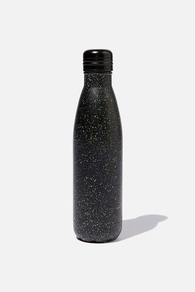 Metal Drink Bottle, BLACK MULTI SPLATTER
