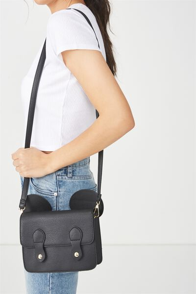 Mini Buffalo Satchel Bag, LCN BLACK MICKEY EARS