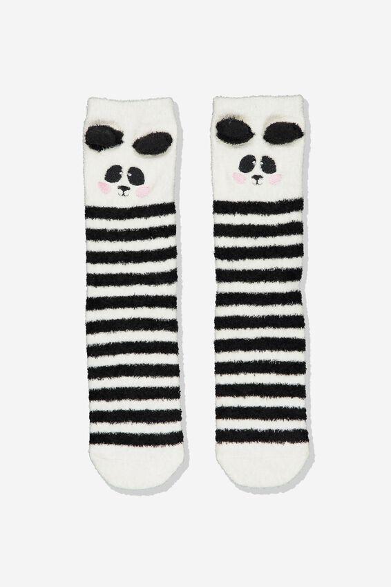 Long Slipper Socks, MULTI PANDA