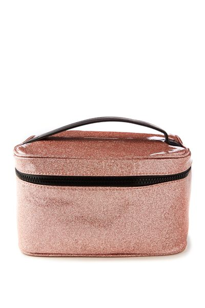 Weekender Cosmetic Case, ROSE GOLD GLITTER
