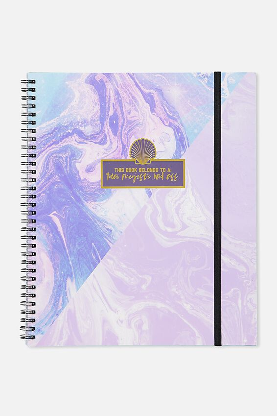 College Ruled Spinout Notebook V, MARBLE MERMAID