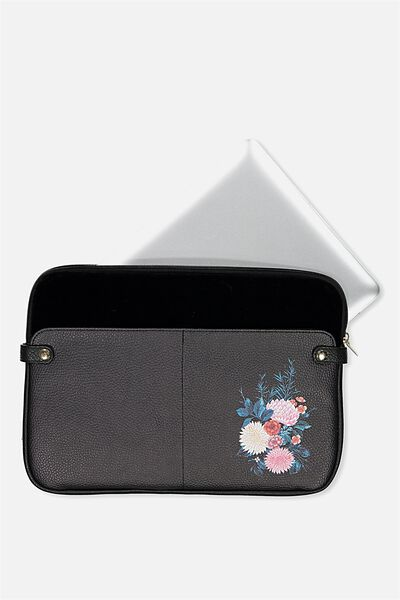 Varsity Laptop Case 13 Inch, ORIENTAL FLOWER BLACK