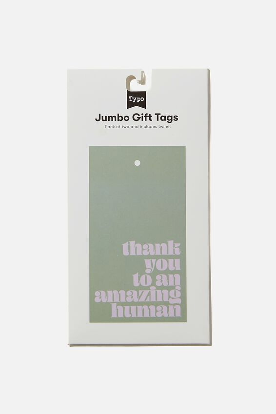 Jumbo Gift Tag Pack, THANKYOU TO AN AMAZING HUMAN GUM LEAF LILAC