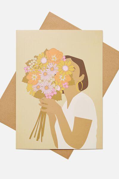 Large Fashion Card, FLOWER BUNCH GIRL ILLO