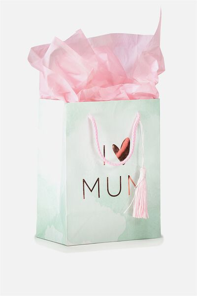 Stuff It Gift Bag Small With Tissue Paper, I HEART MUM