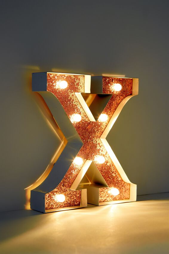 """Marquee Letter Lights Premium 6.3"""" Midi, WHITE WITH ROSE GOLD X"""