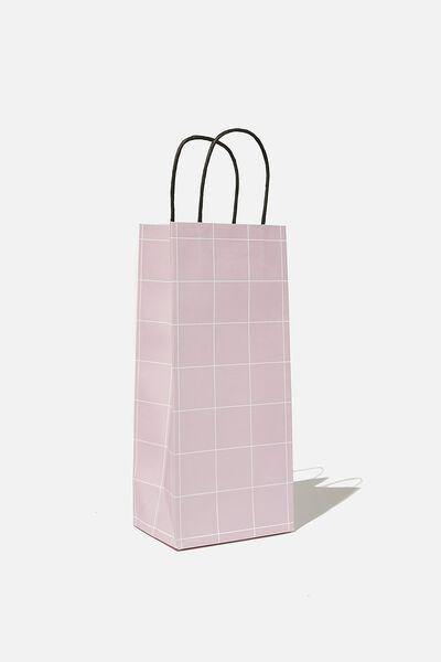 Bottle Gift Bag, HEATHER GRID