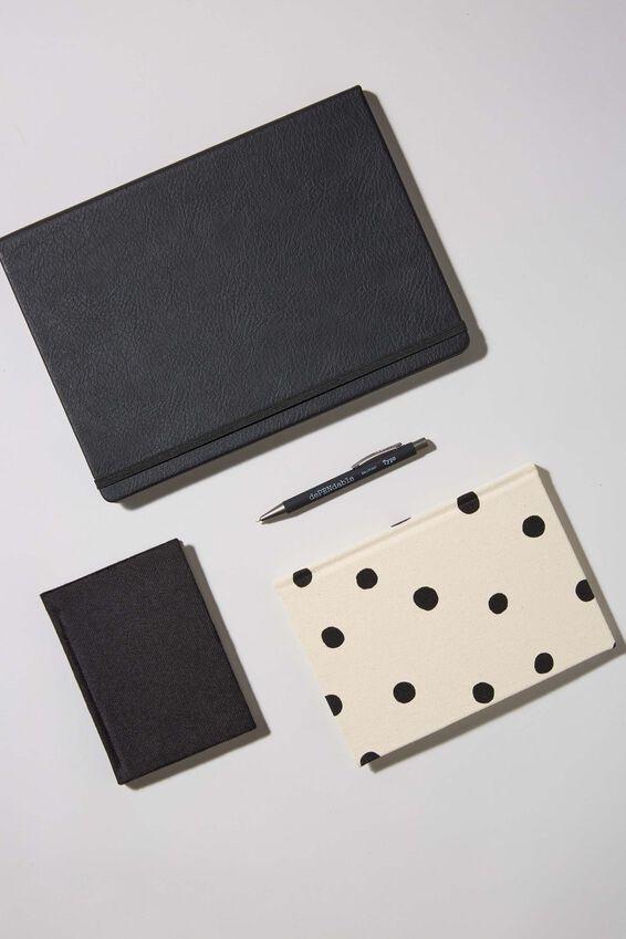 Premium Notebook Gift Set, BLACK POLKA