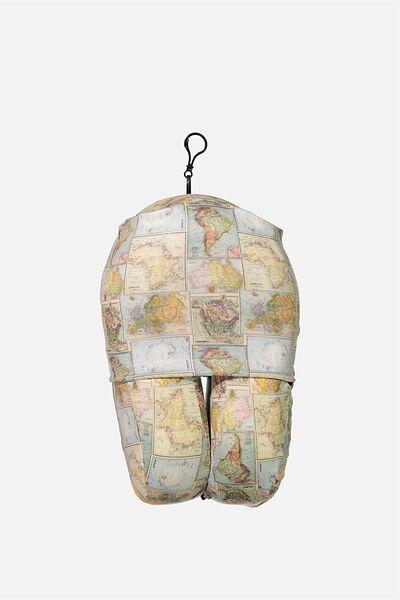 Foam Travel Pillow, WORLD MAP PRINT