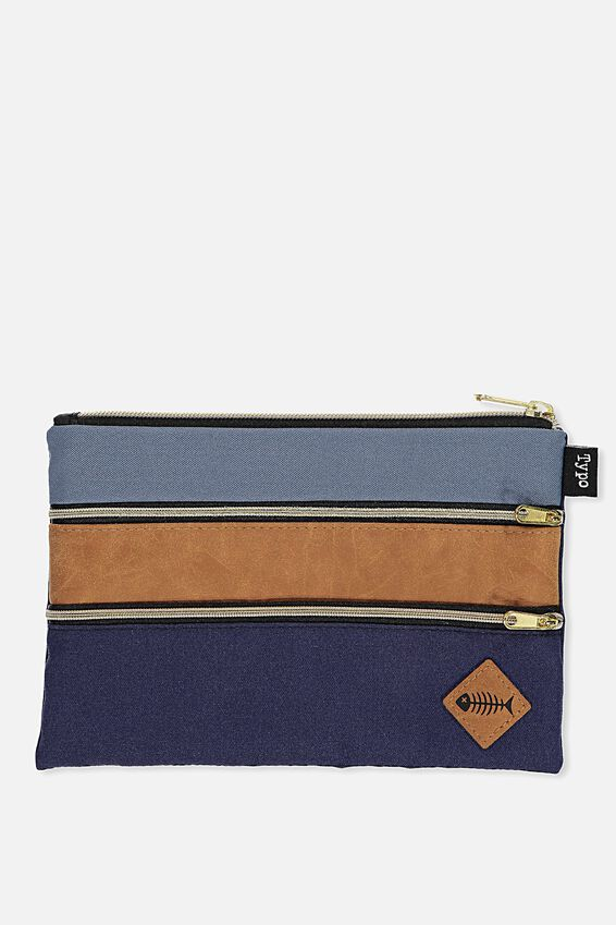 Double Archer Pencil Case, GREY NAVY FISH BONES