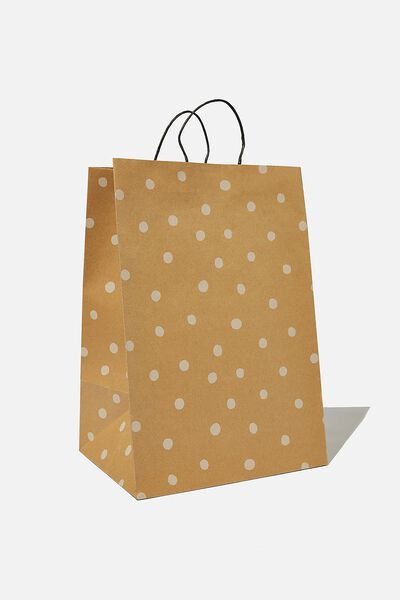 Get Stuffed Gift Bag - Large, KRAFT WHITE SPOT