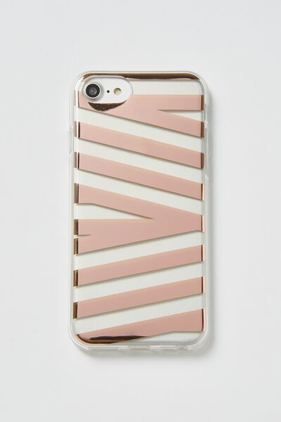 Transparent Phone Cover Universal 6,7,8, ROSE GOLD STRIPE