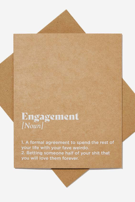 Engagement Card, ENGAGEMENT NOUN CRAFT