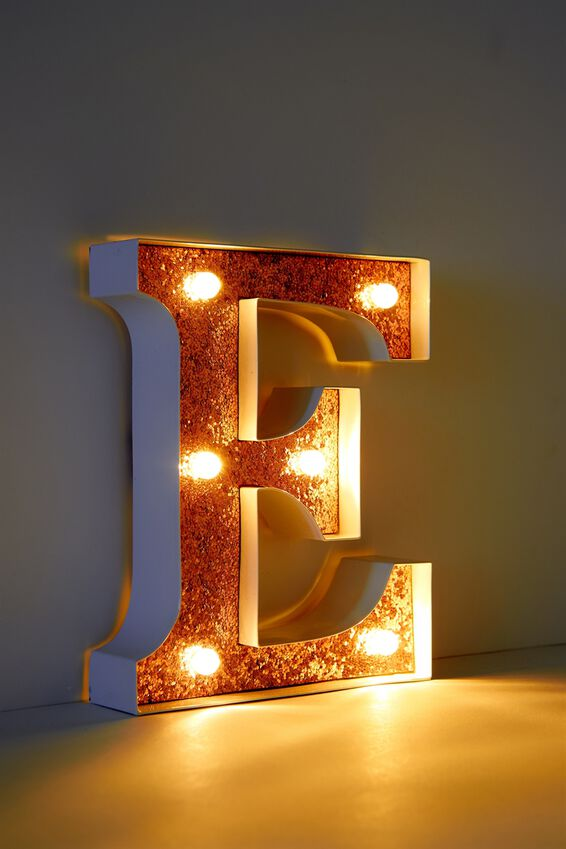"Marquee Letter Lights Premium 6.3"" Midi, WHITE WITH ROSE GOLD E"