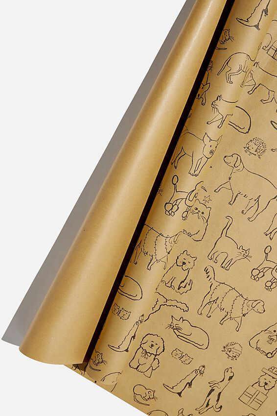 Roll Wrapping Paper, KRAFT CHRISTMAS ANIMALS!