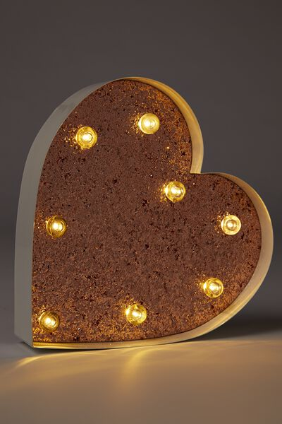 Small Marquee Letter Lights 23cm, WHITE WITH ROSE GOLD GLITTER HEART