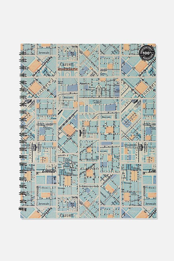 A4 Campus Notebook Recycled, BLUE GRID MAP