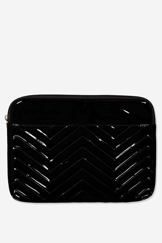 Take Charge Laptop Cover 13 inch, BLACK QUILTED CHEVRON